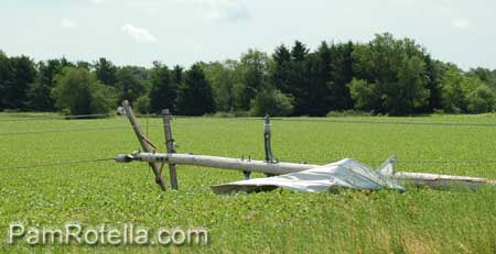 Power pole down along Markham Road in Eagle, WI 22 June 2010