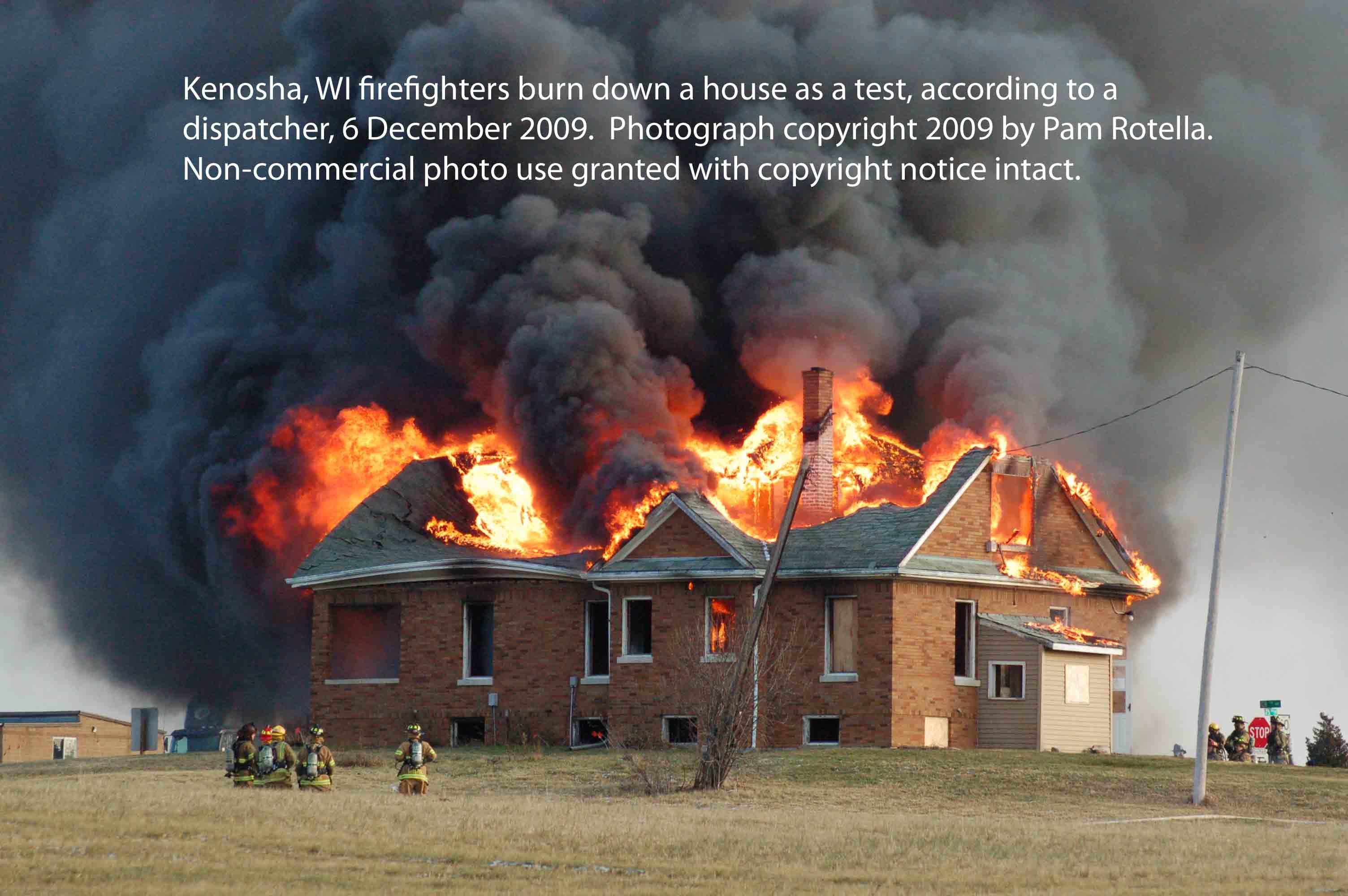 Kenosha firefighters burn down house as test, 6 Dec 2009