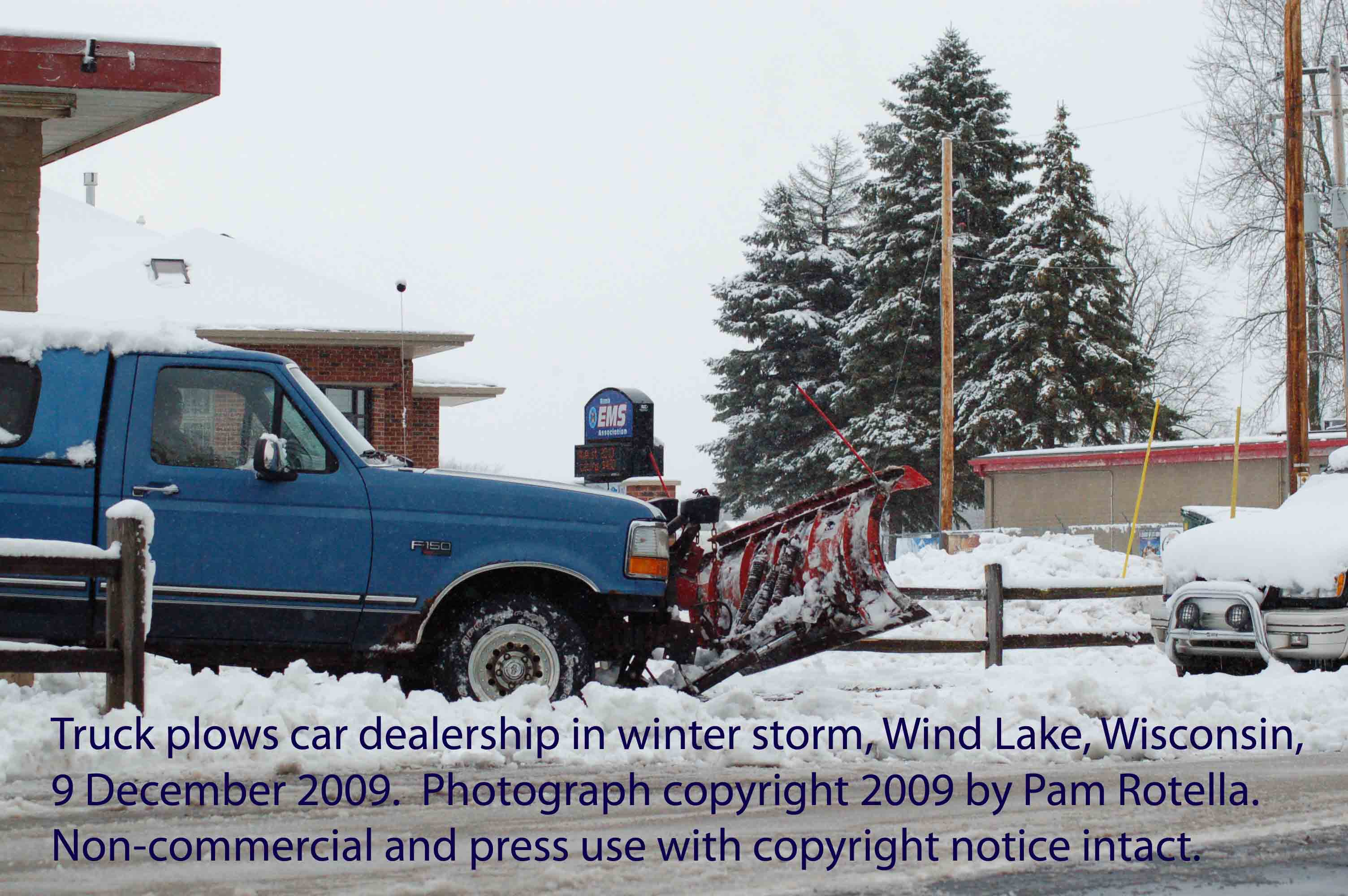 Winter storms, snow plow, Wind Lake, WI, 9 Dec 2009