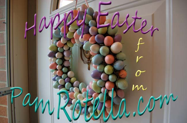 Easter card to readers 2010, my old front door with Easter wreath