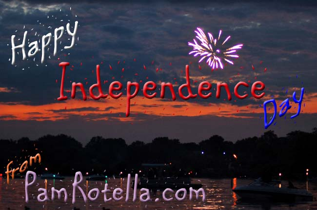 July 4th card to readers, fireworks over Pewaukee, WI