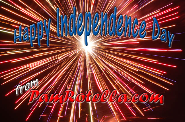 Independence Day card to readers 2011, fireworks in Pewaukee 2010 by Pam Rotella