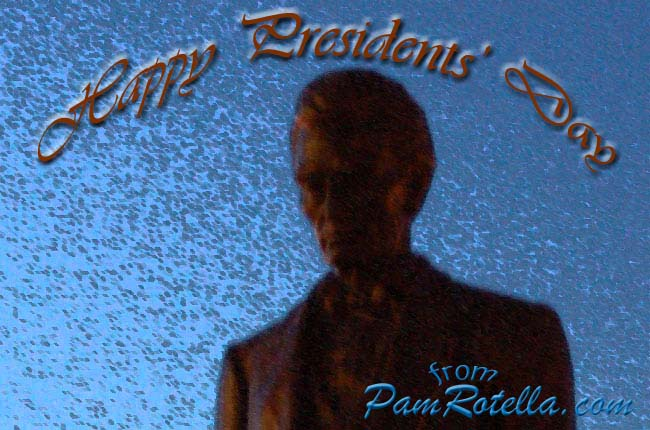 Presidents' Day card to readers; art based on Lincoln statue overlooking Lake Michigan in Milwaukee