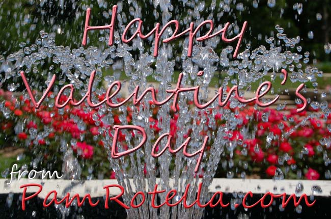 Valentine's Day card to readers 2010, rose garden behind fountain