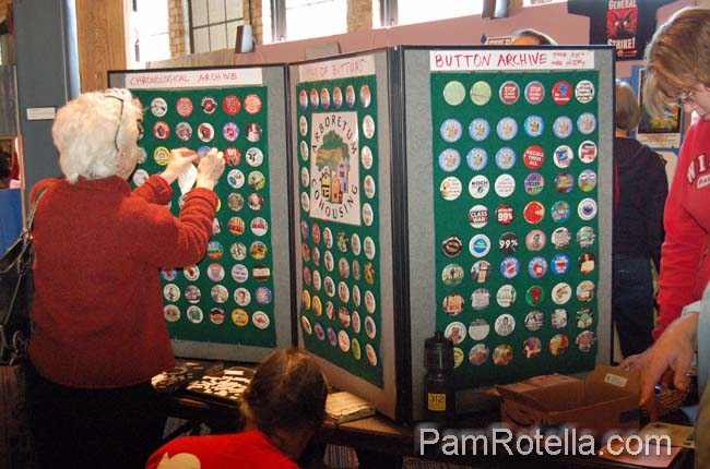 Button archive displayed at the 'Art in Protest' show