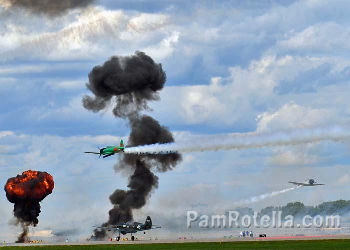 Pearl Harbor simulation at EAA Air Venture 2013, photo by Pam Rotella