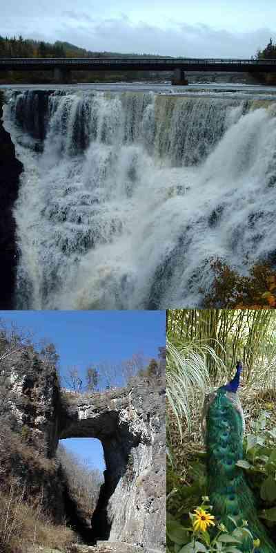 Kakabeka Falls, Ontario; and Natural Bridge, Virginia