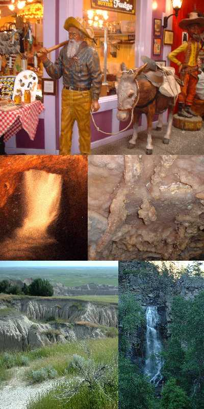 Wall Drugs, Thunderhead underground falls, Stage Barn Crystal Cave, Badlands, and Bridal Veil Falls in the Black Hills