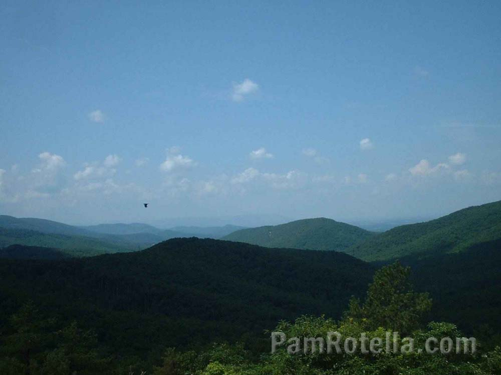 Blue Ridge Mountains in partial shadow, Skyline Drive, Virginia, photo by Pam Rotella