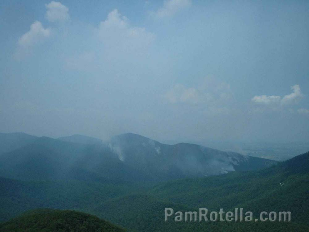 Clouds rise from Blue Ridge Mountains, Skyline Drive, Virginia, photo by Pam Rotella