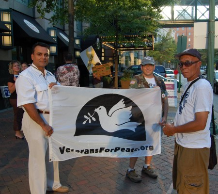 Veterans protesting Allen, photo by Pam Rotella