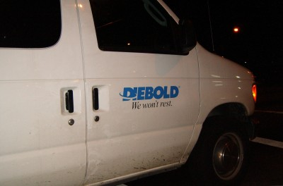 Diebold truck on the move at night, photo by Pam Rotella