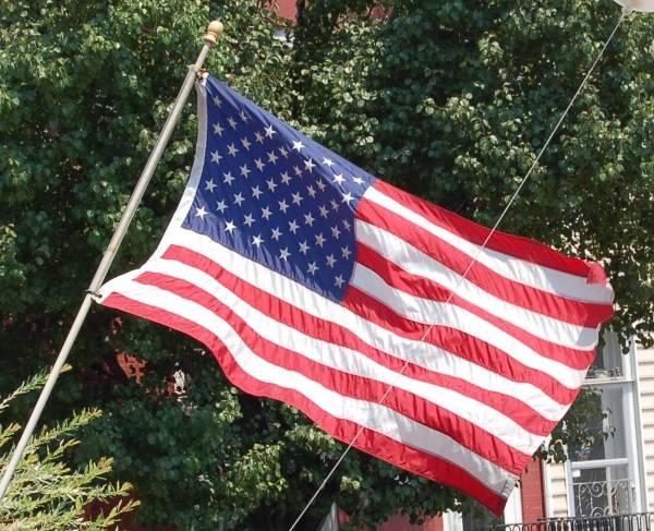 Flag at Hard Bean Cafe in Fleetwood, Pennsylvania, 1 July 2006