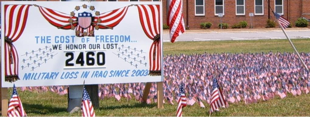Memorial Day display honoring thousands of war dead, May 2006