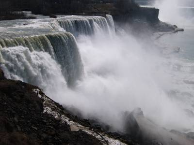 American side of Niagara Falls with Canadian falls in background, April 2006