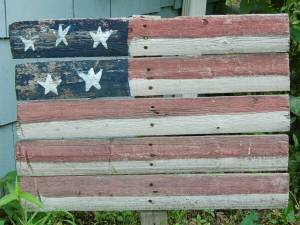 Wooden flag in Virginia Beach, 2 July 2006