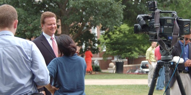 James Webb being interviewed by NBC's Channel 29, photo by Pam Rotella